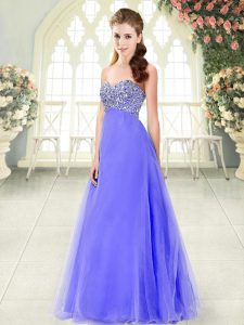 High End Sweetheart Sleeveless Lace Up Evening Wear Lavender Tulle