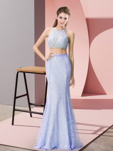 Charming Halter Top Sleeveless Backless Beading and Lace Homecoming Dress in Baby Blue