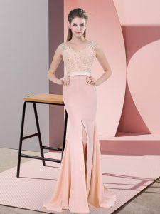 Custom Fit Peach Dress for Prom Prom and Party and Military Ball with Beading and Lace V-neck Sleeveless Sweep Train Zipper