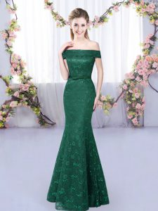 Perfect Floor Length Dark Green Quinceanera Court of Honor Dress Sleeveless Lace