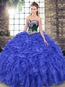 Exceptional Royal Blue Mermaid Organza Sweetheart Sleeveless Embroidery and Ruffles Lace Up Sweet 16 Dresses Sweep Train