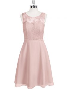 Great Scoop Sleeveless Prom Party Dress Mini Length Lace Baby Pink Chiffon
