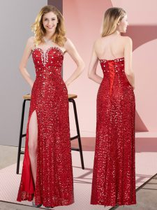 Luxurious Sweetheart Sleeveless Lace Up Juniors Evening Dress Red Sequined