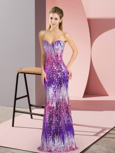 Floor Length Lace Up Homecoming Dress Eggplant Purple for Prom and Party with Sequins