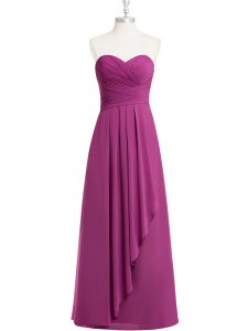Fuchsia Empire Chiffon Sweetheart Sleeveless Ruching Floor Length Zipper Prom Evening Gown