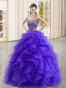 Sophisticated Floor Length Lace Up Sweet 16 Dress Purple for Military Ball and Sweet 16 and Quinceanera with Beading and Ruffles