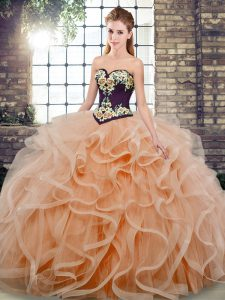 Peach Ball Gowns Sweetheart Sleeveless Tulle Sweep Train Lace Up Embroidery and Ruffles Ball Gown Prom Dress