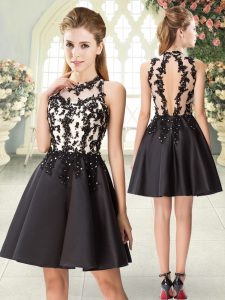 Super Black Backless Beading and Appliques Sleeveless Mini Length