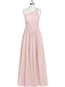 Extravagant Baby Pink Empire One Shoulder Sleeveless Chiffon Floor Length Side Zipper Ruching Prom Gown