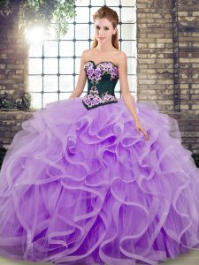 Inexpensive Tulle Sweetheart Sleeveless Sweep Train Lace Up Embroidery and Ruffles Sweet 16 Quinceanera Dress in Lavender
