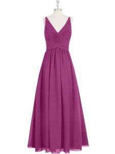 Fancy Floor Length Fuchsia Prom Evening Gown V-neck Sleeveless Zipper