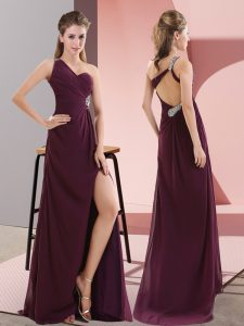 Exquisite One Shoulder Sleeveless Sweep Train Beading and Lace Dark Purple Satin
