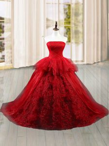 Wine Red Ball Gowns Strapless Sleeveless Tulle Brush Train Lace Up Lace and Ruffles Sweet 16 Dress