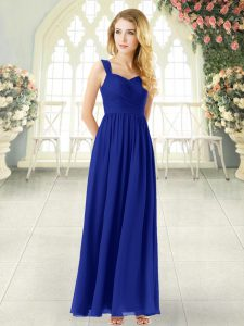 Sleeveless Chiffon Ankle Length Zipper Prom Evening Gown in Royal Blue with Ruching
