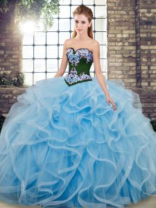 Sexy Baby Blue Ball Gowns Tulle Sweetheart Sleeveless Embroidery Lace Up Vestidos de Quinceanera Sweep Train