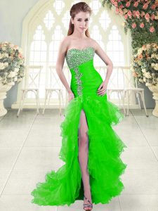 Artistic Sweetheart Sleeveless Womens Evening Dresses Brush Train Beading and Ruffled Layers Green Organza