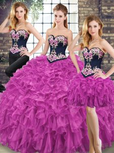 Glorious Fuchsia Sleeveless Floor Length Embroidery and Ruffles Lace Up Quinceanera Gowns