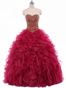 Vintage Wine Red Sleeveless Organza Lace Up Sweet 16 Quinceanera Dress for Military Ball and Sweet 16 and Quinceanera