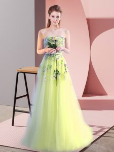 Fantastic Floor Length A-line Sleeveless Yellow Green Prom Dresses Lace Up