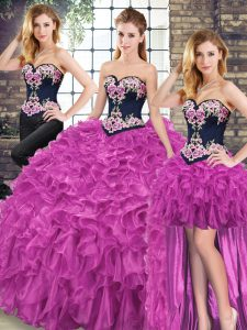 Discount Fuchsia Sleeveless Embroidery and Ruffles Lace Up Quinceanera Dresses
