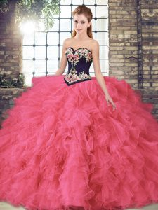 Low Price Sleeveless Tulle Floor Length Lace Up Quinceanera Gowns in Hot Pink with Beading and Embroidery
