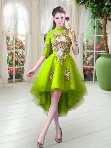Half Sleeves Zipper High Low Appliques Evening Dress