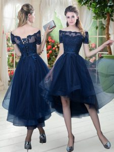 Short Sleeves Lace Up High Low Lace Prom Dresses