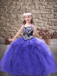Straps Sleeveless Lace Up Kids Pageant Dress Purple Tulle
