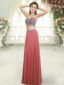 Sleeveless Floor Length Beading Backless Prom Party Dress with Watermelon Red
