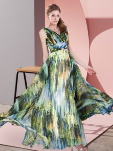 Multi-color Lace Up Evening Outfits Pattern Sleeveless Floor Length