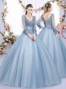 High End Tulle V-neck Long Sleeves Lace Up Lace and Appliques 15th Birthday Dress in Blue