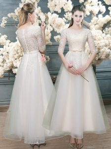 White Prom Gown Prom and Party and Wedding Party with Lace V-neck Half Sleeves Zipper