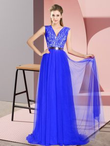 Fantastic Sleeveless Tulle Sweep Train Zipper in Royal Blue with Beading and Lace