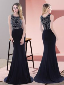 Chiffon Sleeveless Homecoming Dress Sweep Train and Beading and Lace