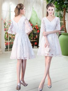 Knee Length White Prom Party Dress Half Sleeves Lace
