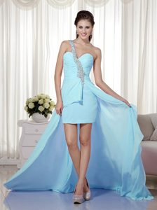 Voguish Baby Blue One Shoulder High-low Beading Prom Dresses