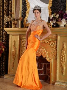 Provocative Orange Mermaid Prom Homecoming Dresses with Beading