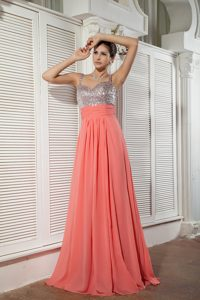 Customize Watermelon Red Amazing Dresses for Prom with Ruching