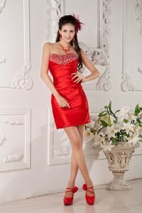 Low Price Red Column Sweetheart Amazing Dress for Prom with Beading