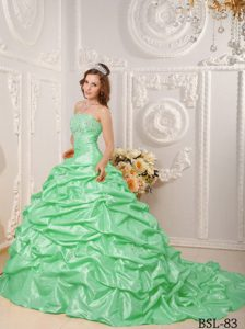 Quinceanera Dresses Apple Green Court Train Appliques and Beaded