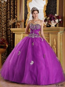 Cheap Fuchsia Ball Gown Appliques Tulle Quinceanera Dresses On Sale
