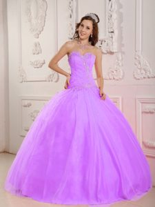 Inexpensive Sweetheart Lilac Long Beaded Sweet 16 Gown for Girls