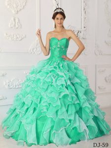 Hot Sale Sweetheart Apple Green Beaded Sweet Sixteen Dress with Ruffles