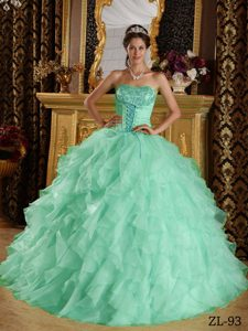 2014 Stylish Lace-up Apple Green Strapless Quinceanera Dress with Ruffles
