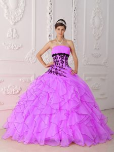 Discount Lavender Strapless Quinceaneras Dress with Ruffles and Appliques