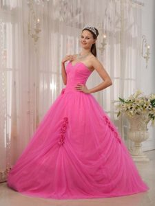 New Arrival Hot Pink Tulle Sweetheart Sweet Sixteen Dresses with Flowers