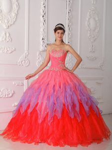 Special Colorful Sweetheart Sweet Sixteen Quinceanera Gown with Beading