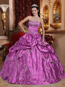 Low Price Fuchsia Strapless Beaded Sweet Sixteen Gowns with Embroidery