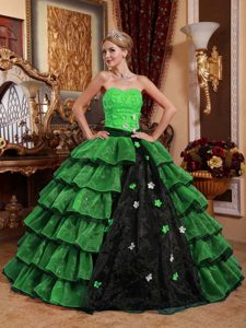 New Sweetheart Green and Black Quince Gown with Appliques and Layers