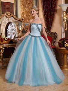 Hot Sale Sweetheart Colorful Tulle Beaded Quinceanera Gown for Slim girls